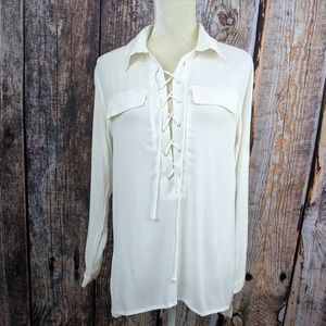 LuLu's Ivory Boho Sheer Lace Up Tunic Top, Small